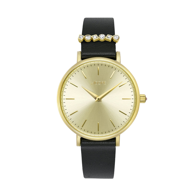 Adore Brilliance 33mm Black Leather Watch Gold Detail