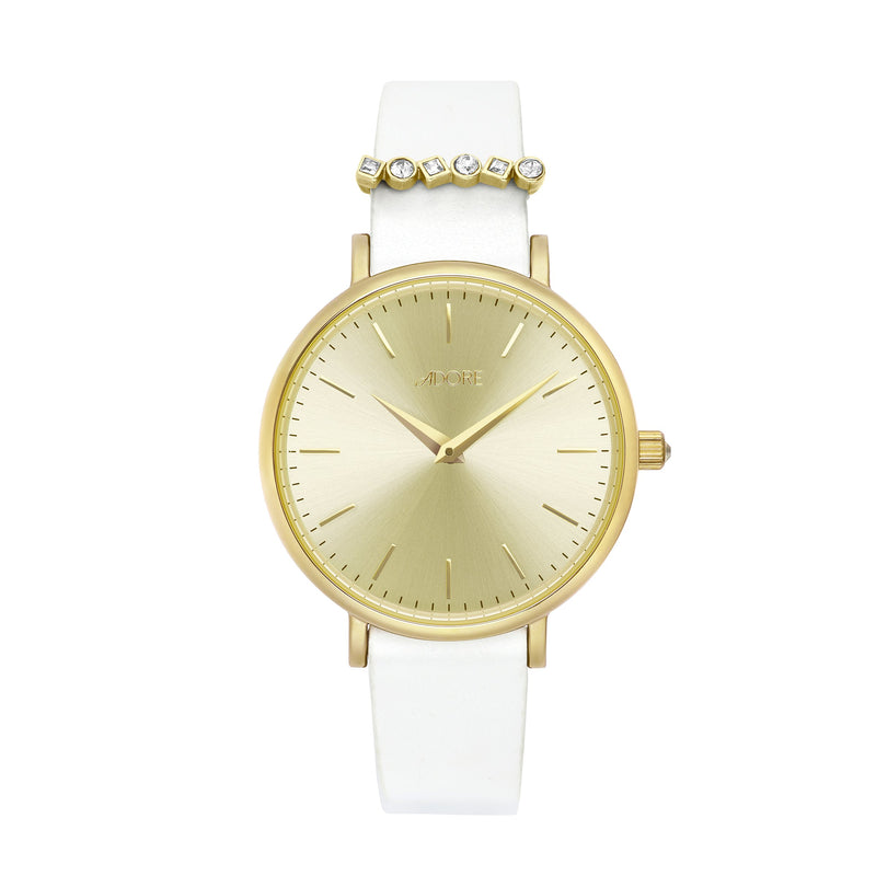 Adore Brilliance 33mm White Leather Watch Gold Detail