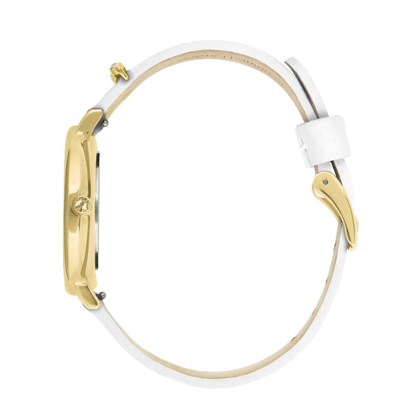 Adore Brilliance 33mm White Leather Watch Gold Side Detail