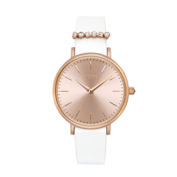 Adore Brilliance 33mm White Leather Watch Rose Gold Detail
