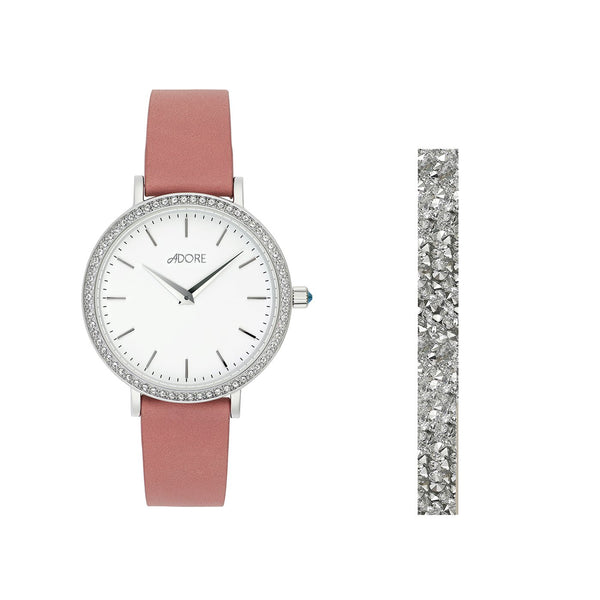 Adore Brilliance 33mm Gift Set Pink Leather Detail