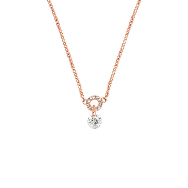 Adore Allure Round CZ Pavé Ring Pendant Necklace Detail