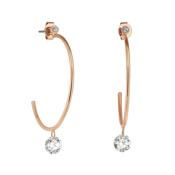 Adore Allure Round CZ Large Hoop Earrings Detail