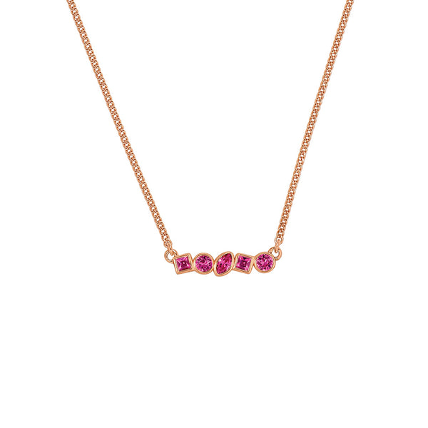 Adore Brilliance Mini Mixed Crystal Bar Necklace Detail