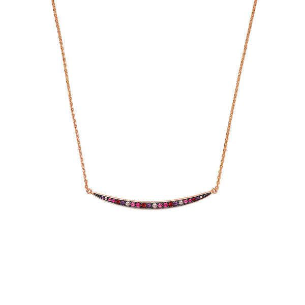 Adore Elegance Multi colour Curved Bar Necklace