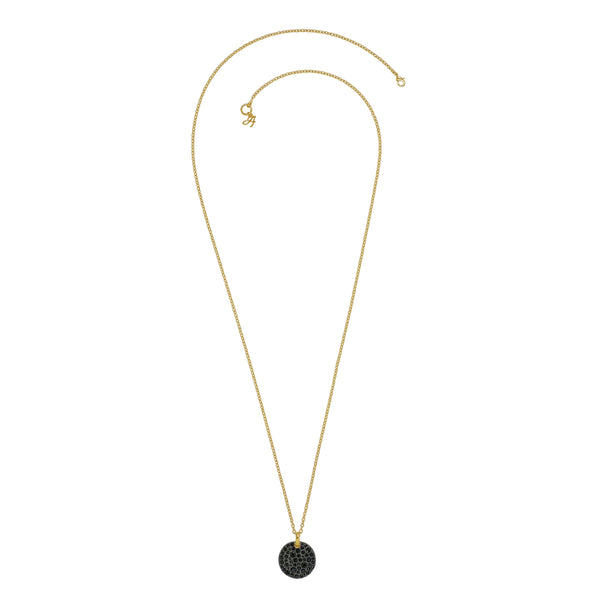 Large Pavé Disc Long Pendant Necklace - Gold Plated / Jet Swarovski® Crystal