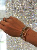Baguette & Round Cuff Bracelet - Crystal/Gold Plated