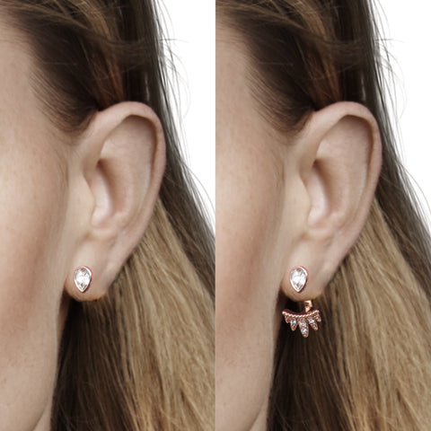 Teardrop Jacket Earrings - Crystal/Rose Gold Plated