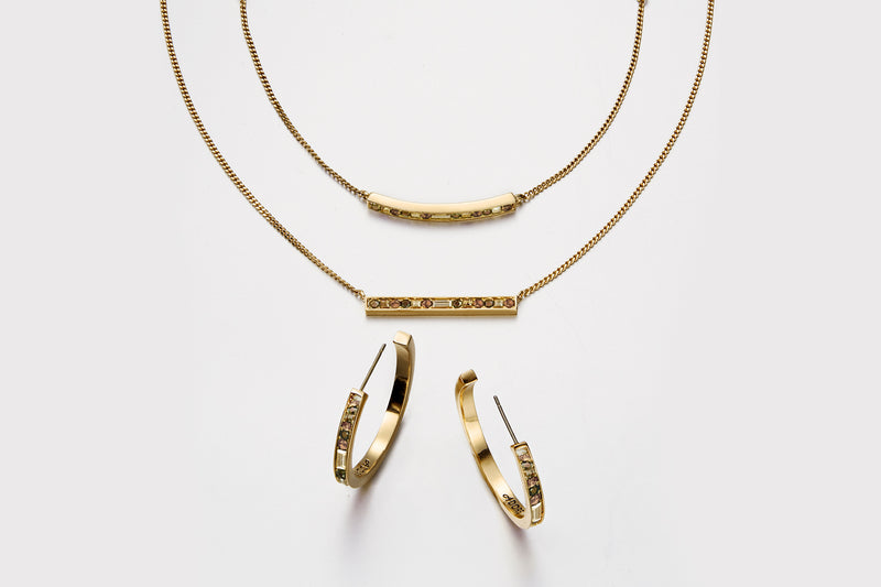 Baguette & Round Bar Necklace - Crystal/Gold Plated