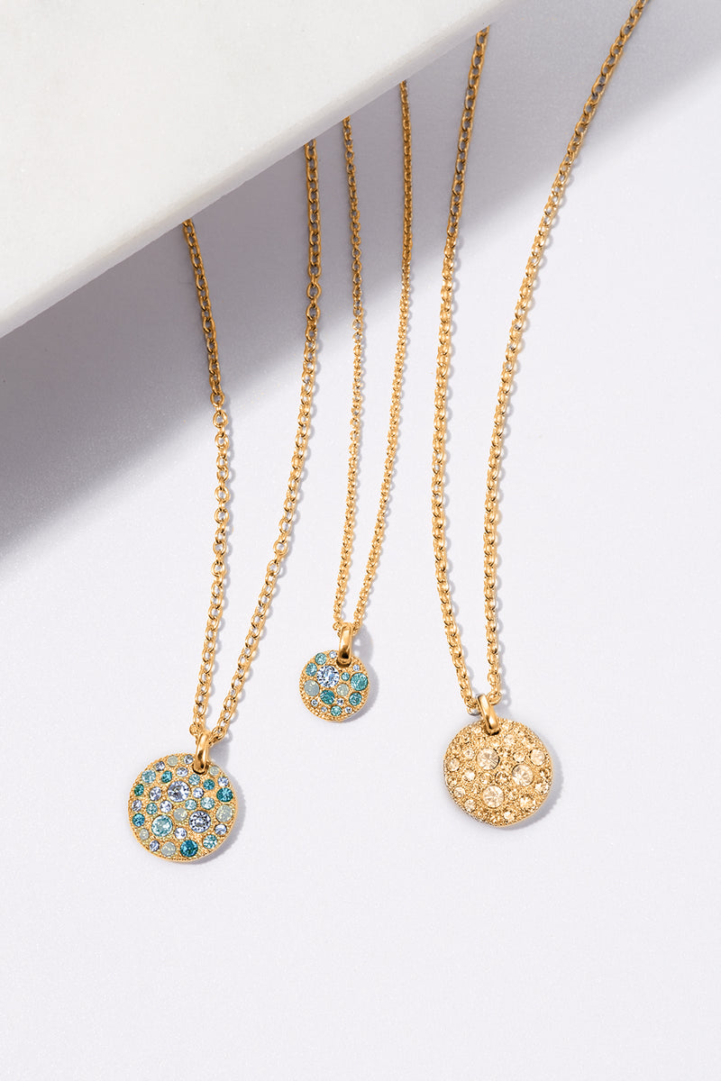 Small Metallic Pavé Disc Necklace - Turquoise Multi/Gold Plated