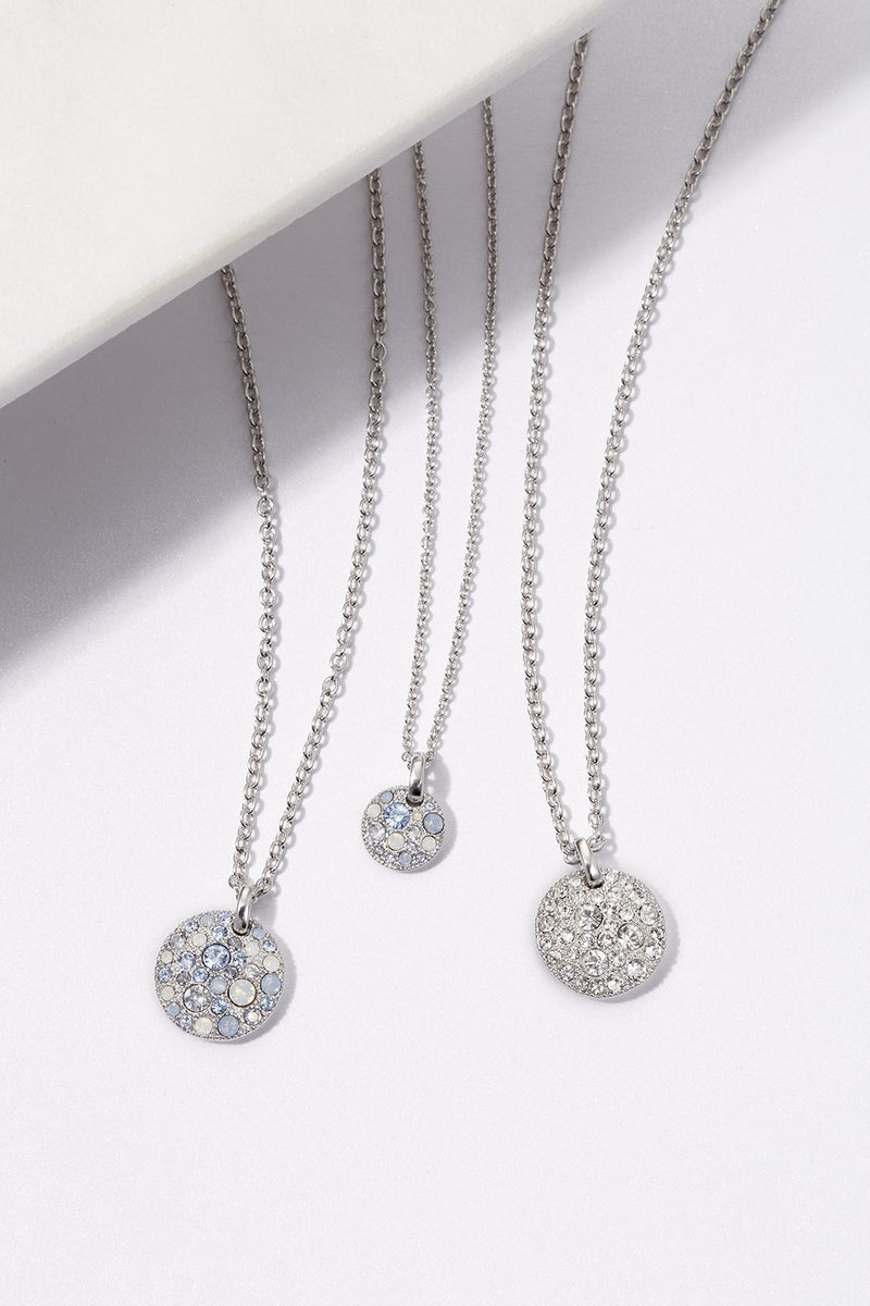 Adore Shimmer Small Metallic Pavé Disc Necklace