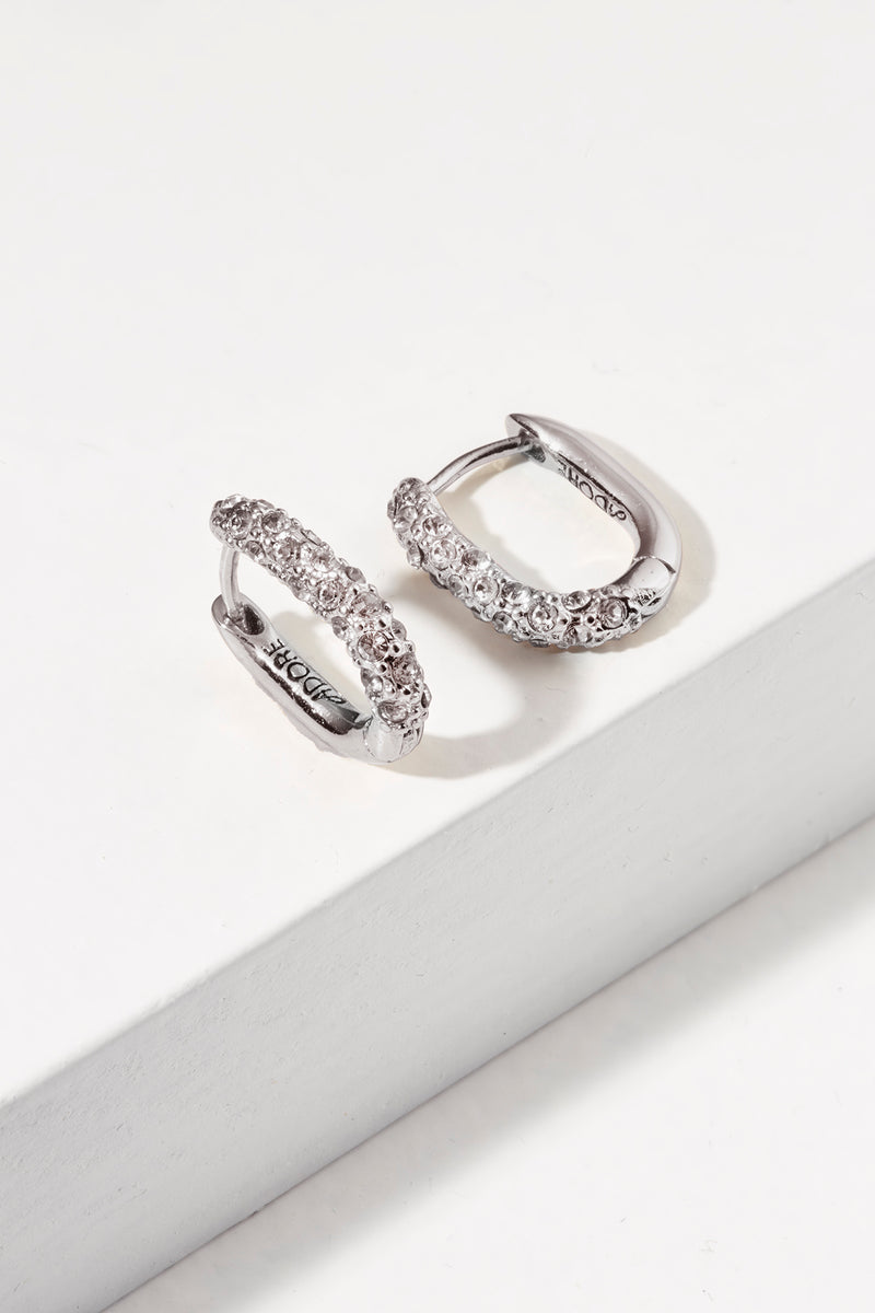 Lozenge Pave Earring - Crystal/Rhodium Plated