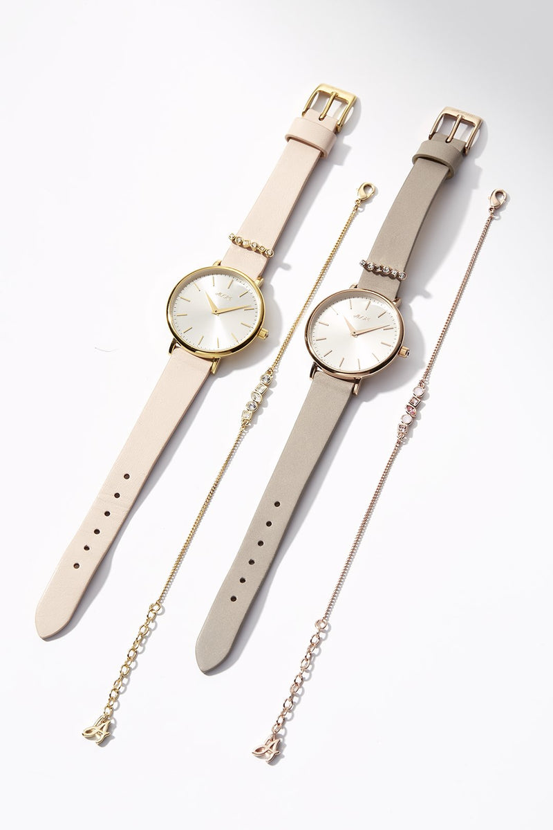 Brilliance 33mm Grey Leather Watch Pairs