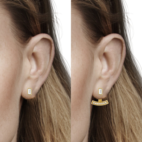 Baguette Bar Earrings - Crystal/Gold Plated