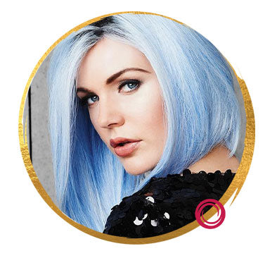 Blue Bob Wig with Dark Roots