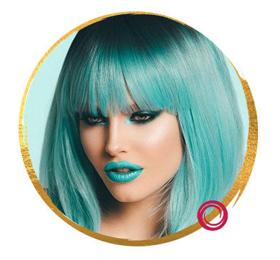 Pastel Blue Wig with Bangs