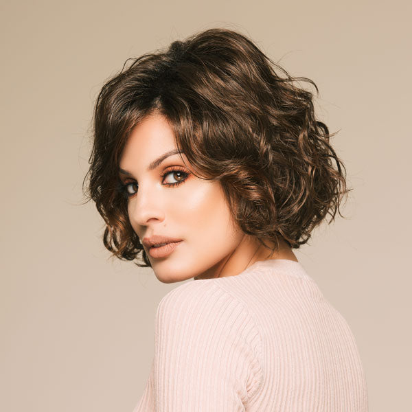 Short Brown Curly Lce Front Wigs