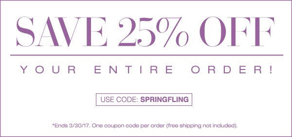 25% OFF Spring Sale - Use coupon code SPRINGFLING