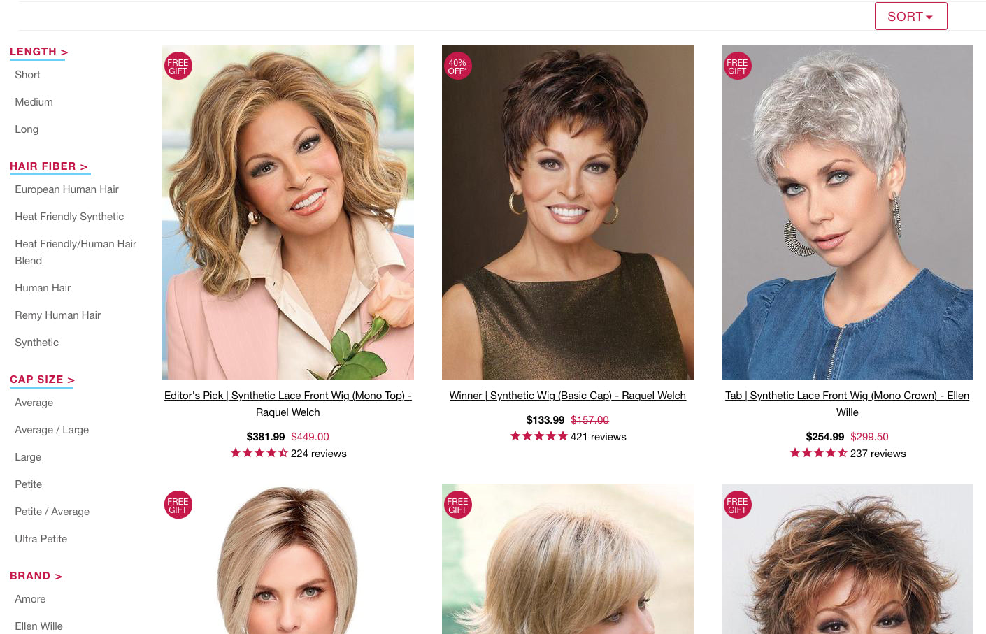 Collection Filters on Wigs.com