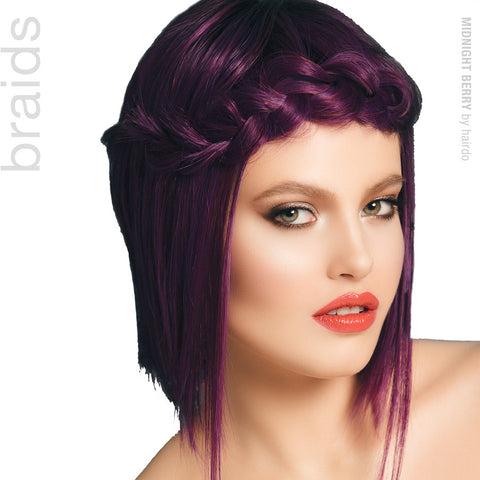 Purple Wig, Colored Wigs, Synthetic Wigs, Bob Wigs, Side Braid, Hairdo Wigs
