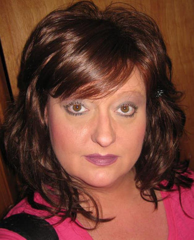 Wavy Brown Wig with Bangs
