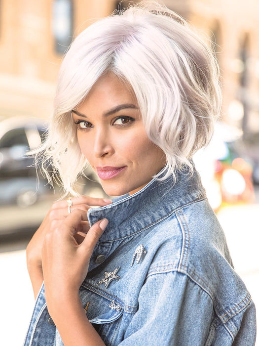 RAE by RENE OF PARIS in PASTEL-PINK | Cool Silver Blonde Front and Base with Subtle Whisper Pink Highlights