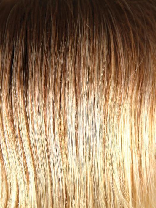 MELTED SUNSET | Medium Brown Roots that Melt into a Peachy Light Brown Blend layered on top of Apricot Blonde and Intense Gold Blonde at Nape
