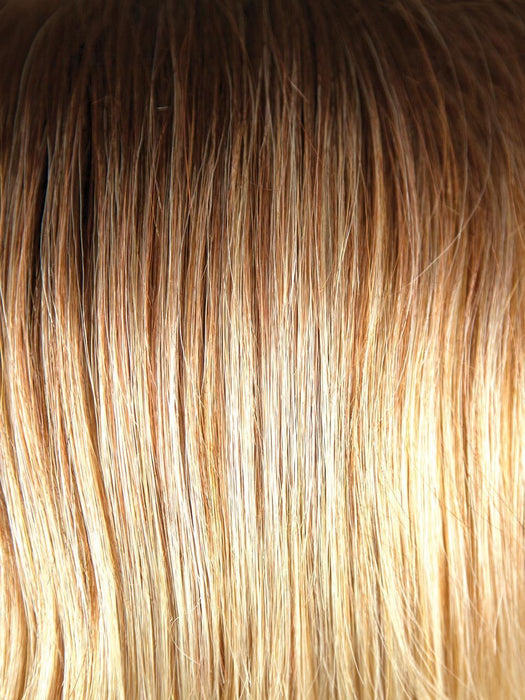 MELTED-SUNSET | Medium Brown Roots that Melt into a Peachy Light Brown Blend layered on top of Apricot Blonde and Intense Gold Blonde at Nape