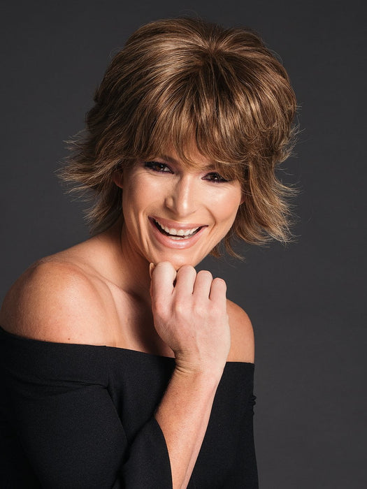 Short Human Hair Wig by RAQUEL WELCH in R11S+ GLAZED MOCHA