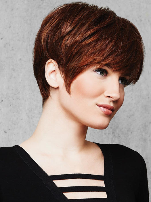 "A classic ""boy cut"", the SHORT TEXTURED PIXIE CUT Wig by Hairdo features textured bangs and all over precision tapered layers that blend into a neck-hugging nape"