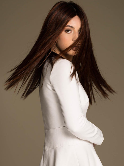 VERONICA by ENVY in CHOCOLATE CHERRY | Dark Brown roots with overall Medium Brown base with Deep Red highlights  (This piece has been styled and straightened)