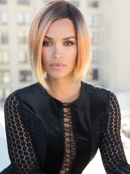 KAI by RENE OF PARIS in MELTED-SUNSET | Medium Brown Roots that Melt into a Peachy Light Brown Blend layered on top of Apricot Blonde and Intense Gold Blonde at Nape