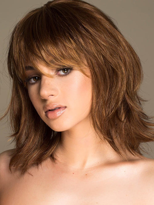 STOP TRAFFIC by RAQUEL WELCH in R3025S GLAZED CINNAMON | Medium Auburn with Ginger Blonde Highlights on Top