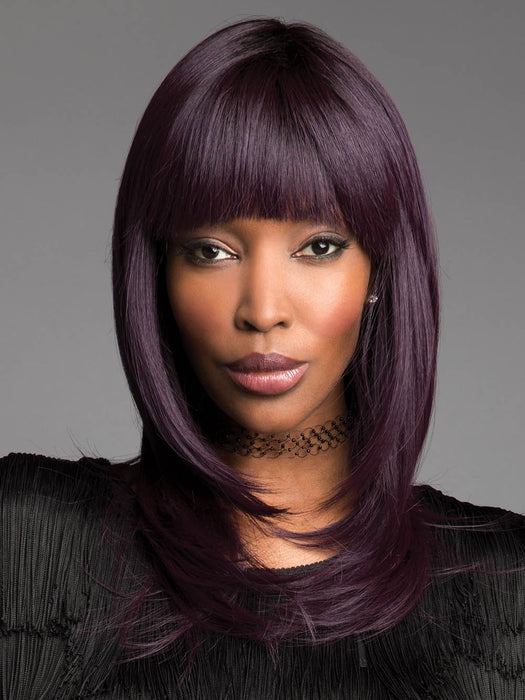 SPELLBOUND Wig by REVLON in MIDNIGHT IRIS | Blend of Darkest Brown and Dark Violet with Black Roots