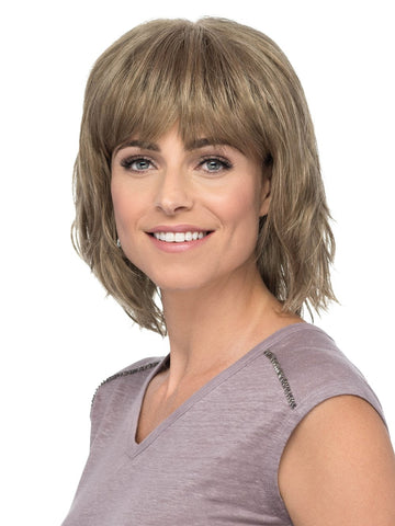 Hunter is a fresh, fun bob with full bangs and texturized tousled locks