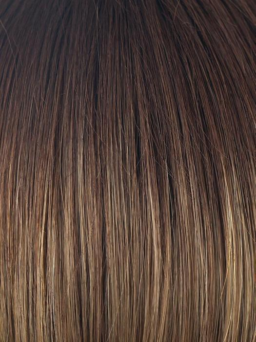 MOCHACCINO-LR | Longer Dark Roots with Light Brown Base and Strawberry Blonde Highlights