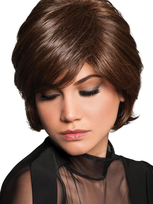 That includes feathered, side-swept bangs and layered chin-length sides that graduate back to a collar-length nape