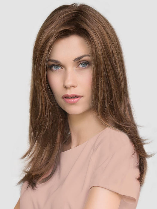 GLAMOUR MONO by ELLEN WILLE IN CHOCOLATE ROOTED | Medium to Dark Brown base with Light Reddish Brown highlights