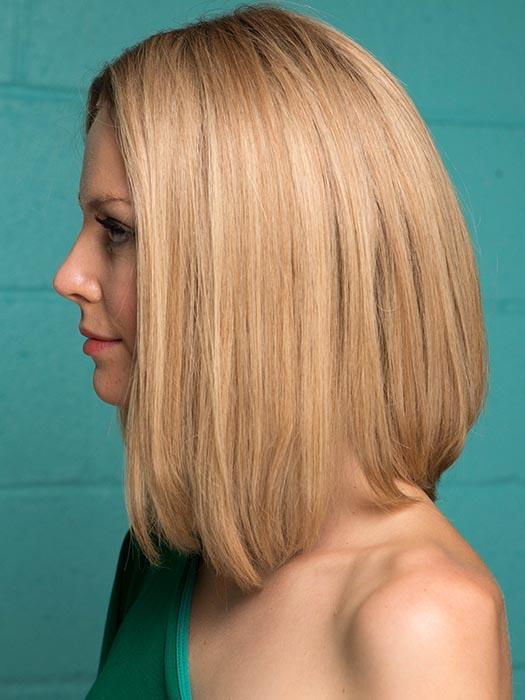 INSPIRE by ELLEN WILLE in SANDY BLONDE ROOTED | Medium Honey Blonde, Light Ash Blonde, and Lightest Reddish Brown blend with Dark Roots (This piece has been styled for this look)