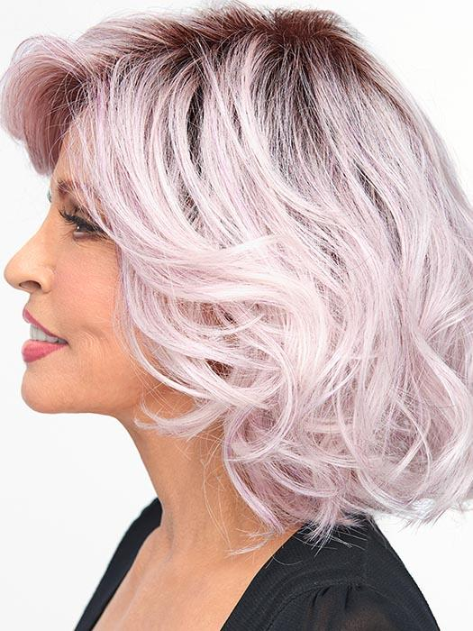 Colorful Wig by Raquel Welch: The light lavender tone puts you at the forefront of modern hair with a rooted top and fashion-forward fantasy shades of metallic, light purple hues. Including a lace front monofilament part for off-the-face styling versatility