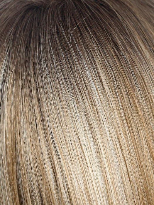 ROSE-GOLD-R | Blond base with reddish highlights and roots