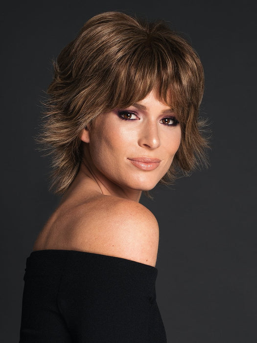 APPLAUSE by RAQUEL WELCH in R11S+ GLAZED MOCHA | Warm Medium Brown with Golden Blonde Highlights on Top (Style has been blow dried and shaping creme was used for this look)