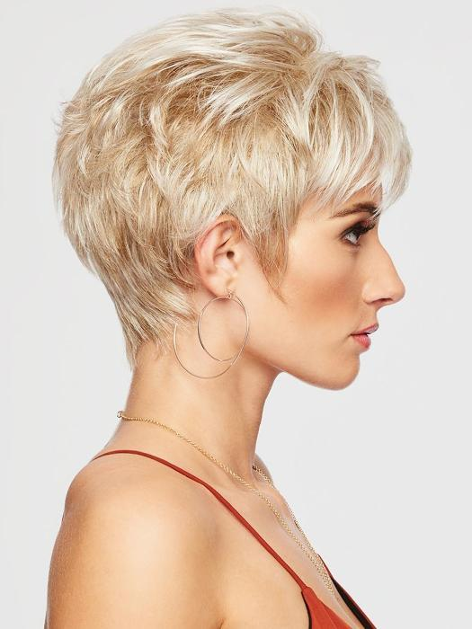 This short, face-framing cut includes a smooth front and top that blend into textured layers throughout the back and sides.