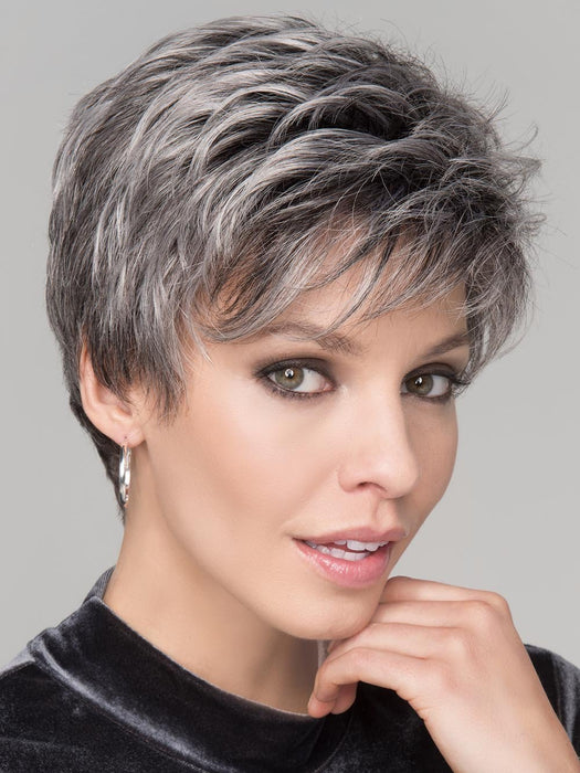 SPRING HI Wig by ELLEN WILLE in SALT/PEPPER MIX | Light Natural Brown with 75% Gray, Medium Brown with 70% Gray and Pure White Blend
