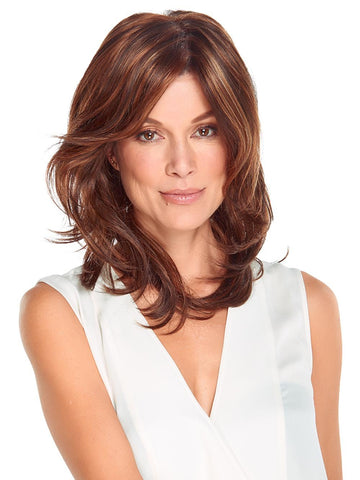 The Gigi Wig by Jon Renau has cascading long layers to frame the face to project an attitude of untroubled independence