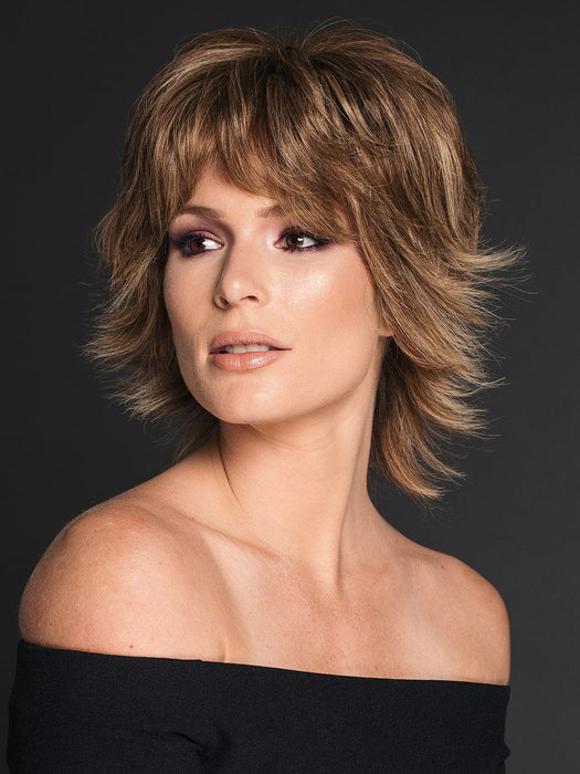APPLAUSE by RAQUEL WELCH in R11S+ GLAZED MOCHA | Warm Medium Brown with Golden Blonde Highlights on Top