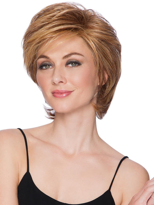 SHORT TAPERED CROP by HAIRDO in SS25 SHADED GINGER BLONDE | Golden Blonde with subtle highlights, Medium Brown roots