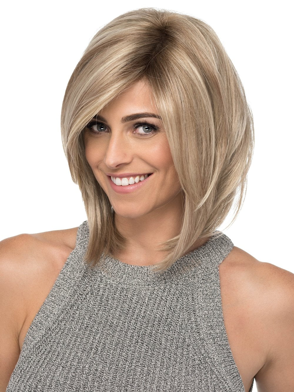 LACE FRONT | Medium Angled Layered Bob with Side Swept Bangs