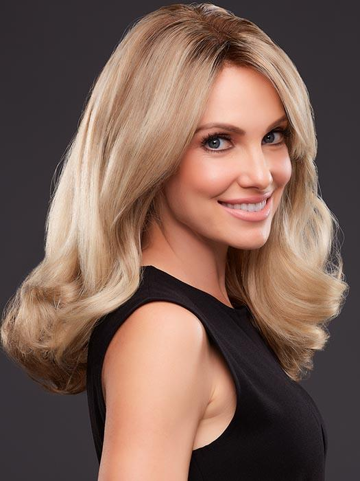 ANGIE by JON RENAU in 12FS8 | Light Gold Brown, Light Natural Gold Blonde and Pale Natural Gold-Blonde Blend, Shaded with Medium Brown