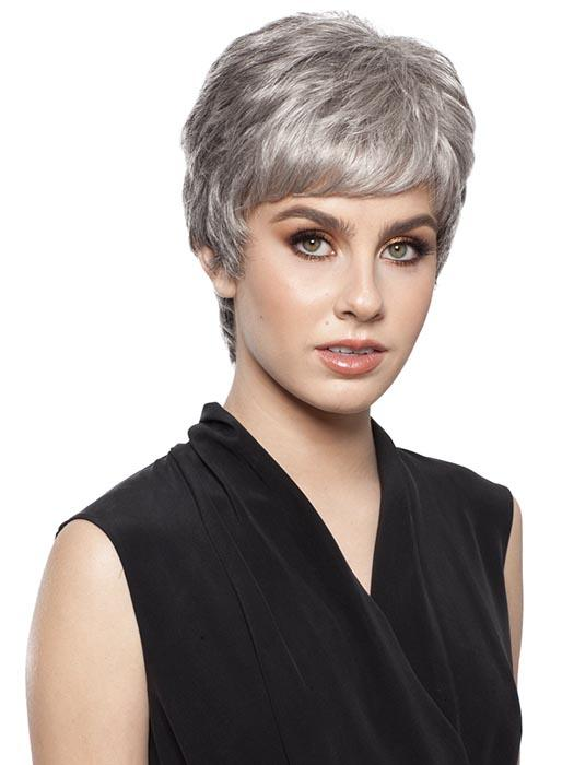SHORTIE by WIGPRO in 92 Dark Brown Blended with 90% Grey on top, gradually darkening 50% Grey tips